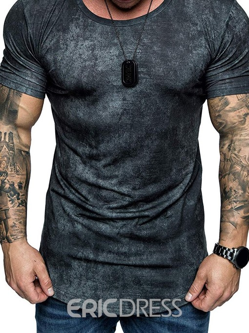 Ericdress Round Neck Casual Color Block Mens T-shirt