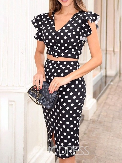 Ericdress Falbala Polka Dots Dressy Bodycon T-Shirt And Skirt Two Piece Sets