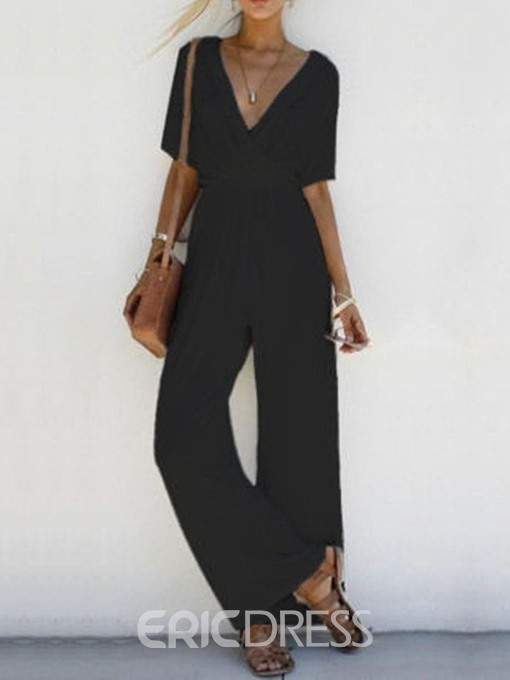 Ericdress Plain Office Lady Loose Wide Legs Jumpsuit