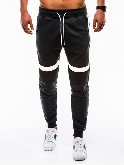 Ericdress Color Block Lace-Up Mens Sports Casual Pants