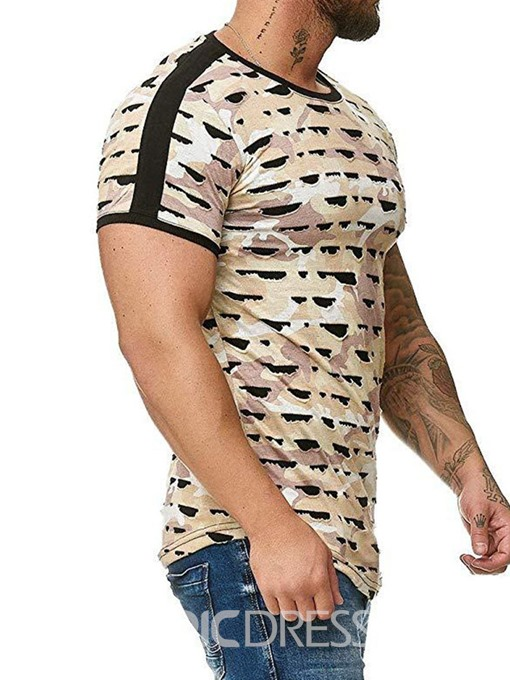 Ericdress Casual Round Neck Color Block Mens T-shirt