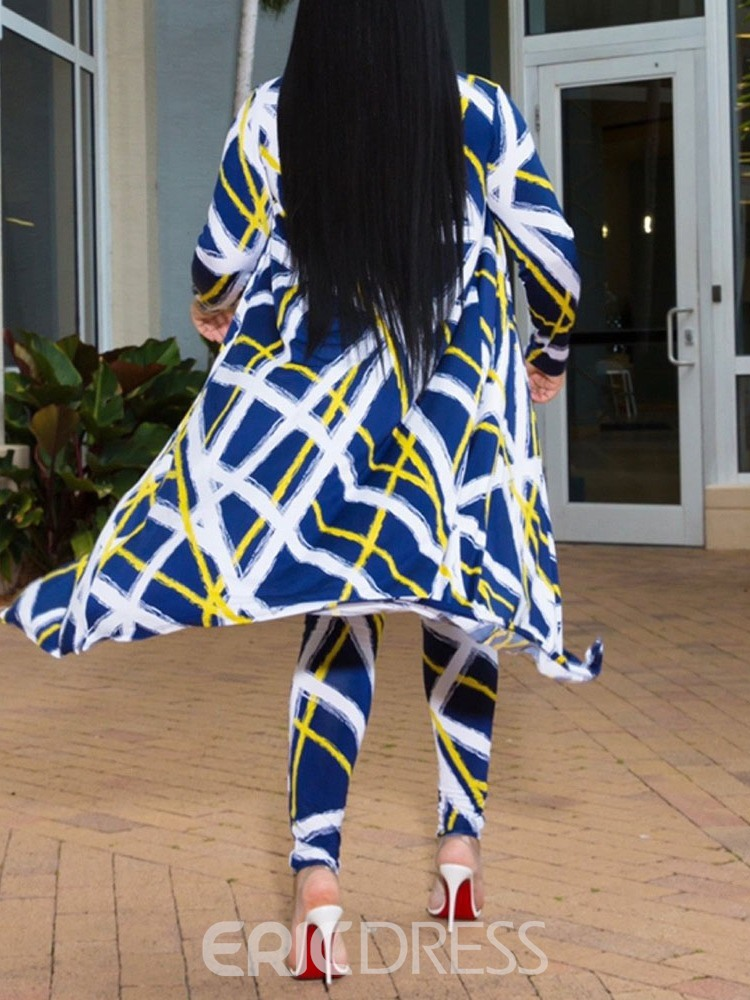 Ericdress Print Color Block Casual Coat And Pants Two Piece Sets
