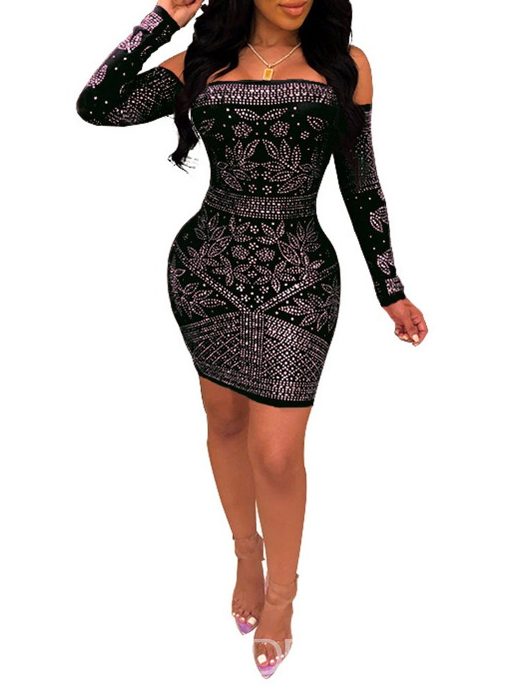 Ericdress Bodycon Above Knee Off Shoulder Diamond Dress