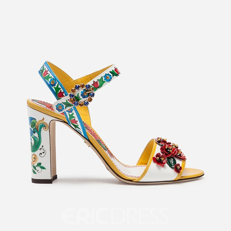 Ericdress Floral Ankle Strap Stiletto Heel Buckle Women's Prom Shoes