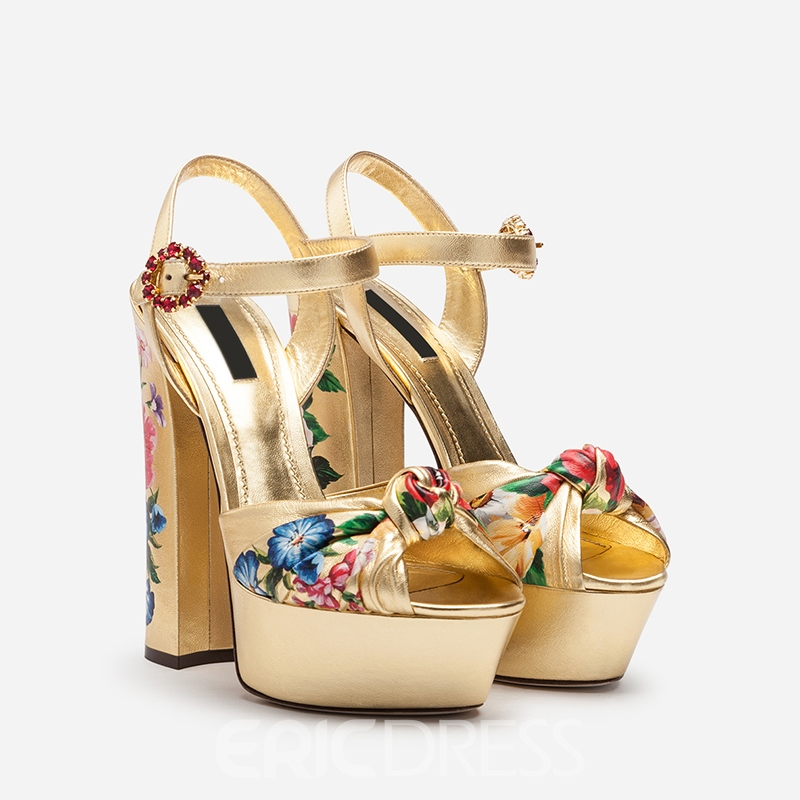 Ericdress Floral Ankle Strap Buckle Peep Toe Women's Prom Shoes