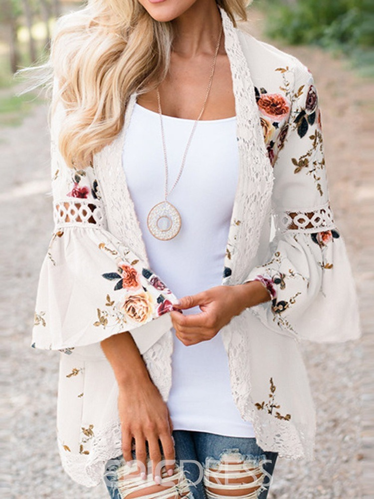 Ericdress Patchwork Lace Floral Trench Coat