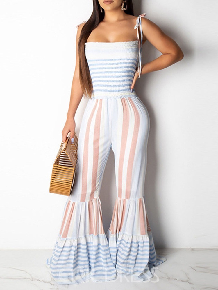 Ericdress Color Block Stripe Lace-Up Slim Jumpsuit