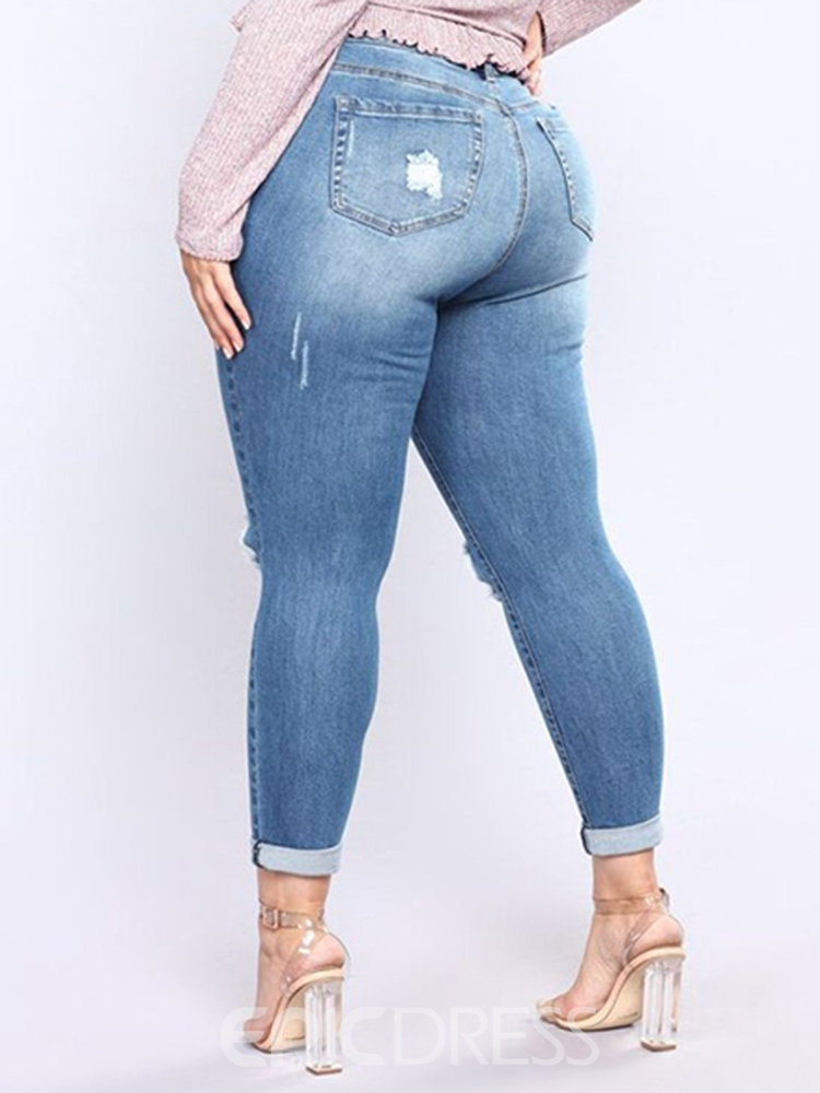 Ericdress Plus Size Plain Pocket Skinny Ripped Jeans