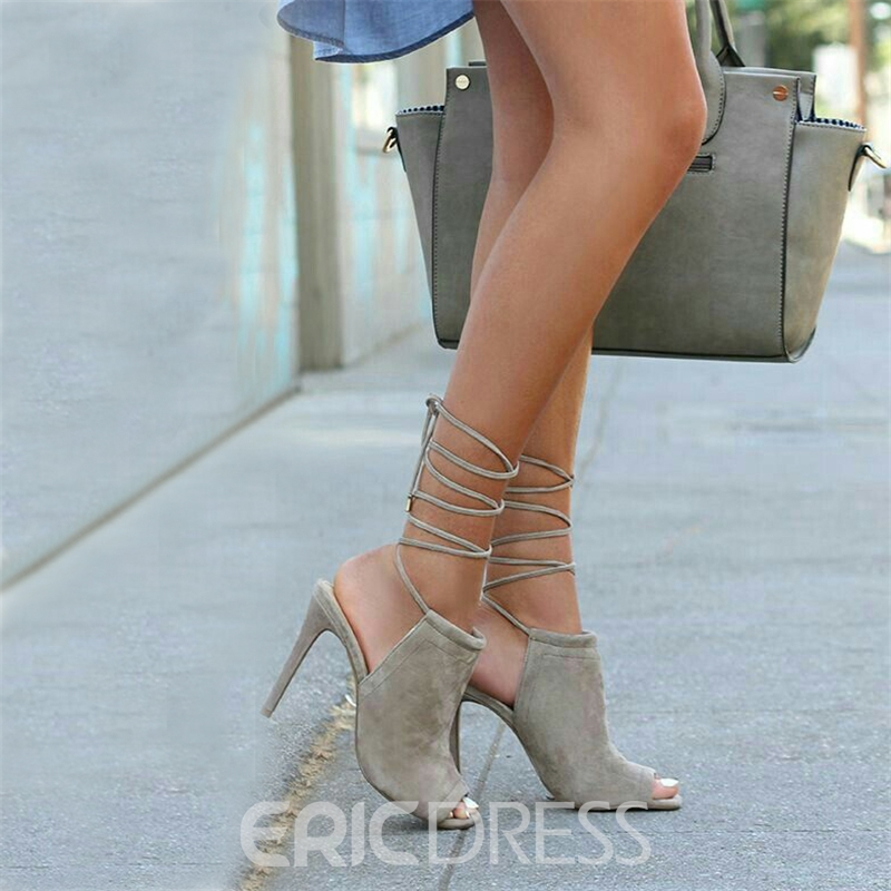 Ericdress Trendy Blue Lace Up Peep Toe Sandals