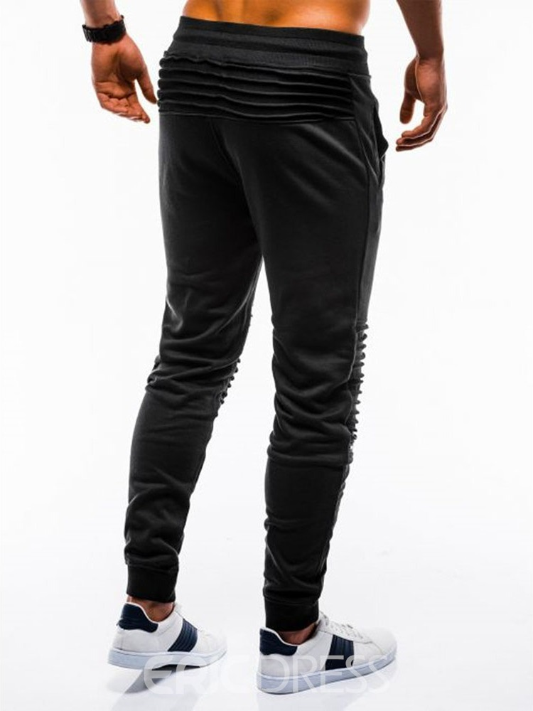 Ericdress Plain Pocket Mid Waist Mens Casual Pants