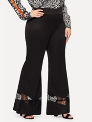 Ericdress Plus Size Patchwork Plain Slim Bellbottoms Lace Casual Pants thumbnail