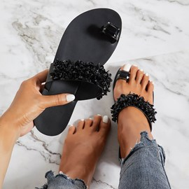 Ericdress Rhinestone Toe Ring Women's Slippers