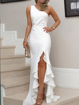 Ericdress White Dress Oblique Collar Asymmetrical Floor-Length Pullover Plain Dress