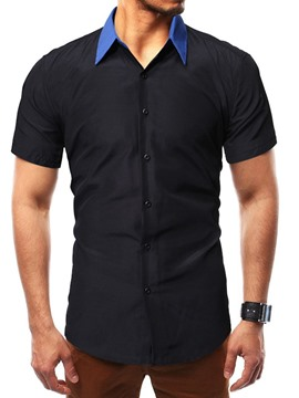 Ericdress Color Block Button Mens Single-Breasted Shirt