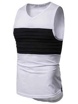 Ericdress V-Neck Color Block Slim Mens Casual Vest