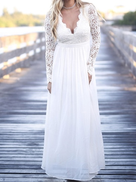 Ericdress Long Sleeves Lace Beach Wedding Dress 2019