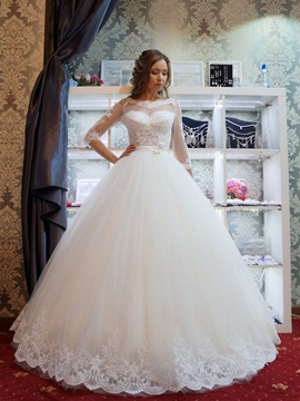 Ericdress Bowknot Appliques 3/4 Length Sleeves Wedding Dress 2019