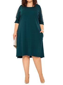 Ericdress Plus Size Round Neck Bead Half Sleeve Cold Shoulder Pocket Dress