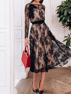 Ericdress Lace Long Sleeves A-Line Scoop Cocktail Dress 2020