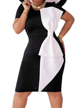 Ericdress Bowknot Knee-Length Round Neck Color Block Bodycon Dress