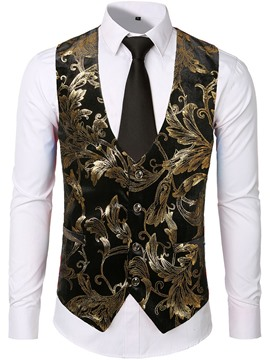 Ericdress Color Block Print V-Neck Fashion Mens Single-Breasted Waistcoat