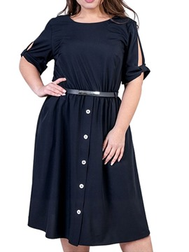 Ericdress Plus Size Cold Shoulder Round Neck Half Sleeve Regular Button Dress