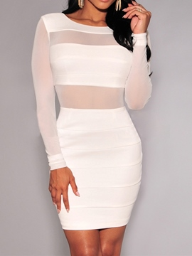 ericdress manches longues col rond au-dessus du genou robe sexy mi-taille