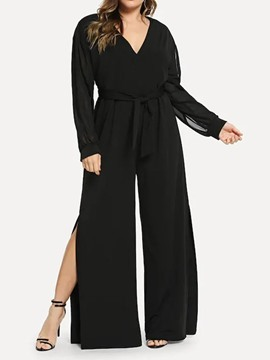 Ericdress Plus Size Lace-Up Split Loose Jumpsuit
