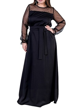 Ericdress Plus Size Floor-Length Mesh Round Neck A-Line Elegant Dress