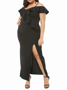 Ericdress Plus Size Backless Ankle-Length Split Mid Waist Single Dress