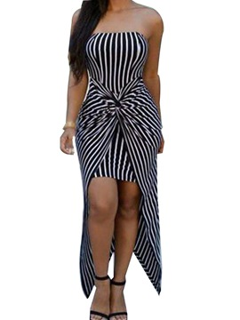 Ericdress Pleated Ankle-Length Stripe Sleeveless Stripe Asymmetrical Dress