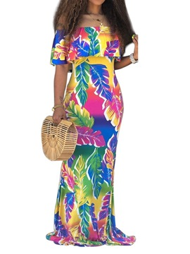 Ericdress Floor-Length Short Sleeve Print Bodycon Gradient Dress