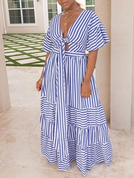 Ericdress Floor-Length Short Sleeve Lace-Up Stripe A-Line Dress