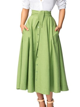 Ericdress A-Line Button Plain Office Lady Skirt