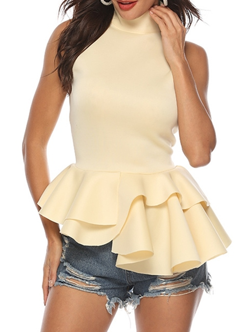 Ericdress Asymmetric I-Shaped Ruffles Sleeveless Blouses