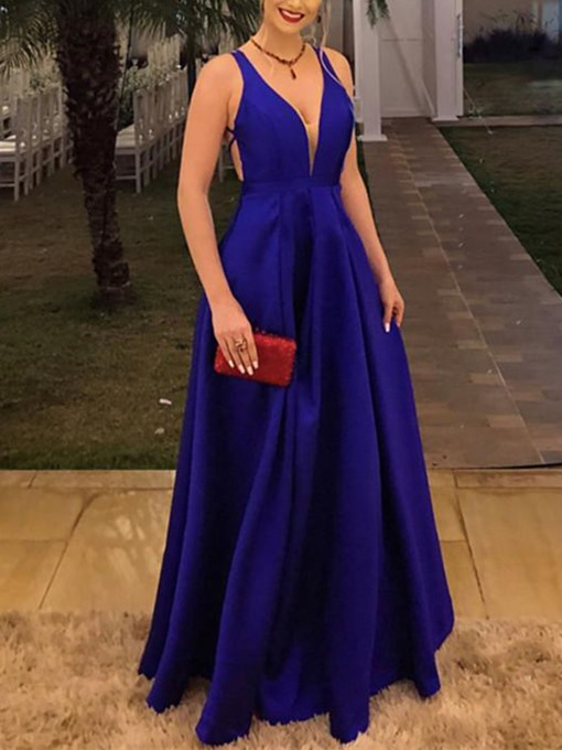 Ericdress V-Neck A-Line Backless Prom Dress 2019