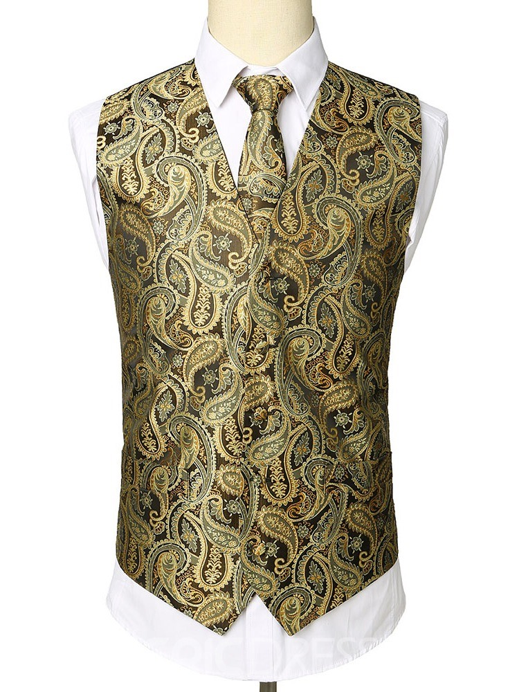 Ericdress Button Color Block V-Neck Single-Breasted Mens Fashion Waistcoat