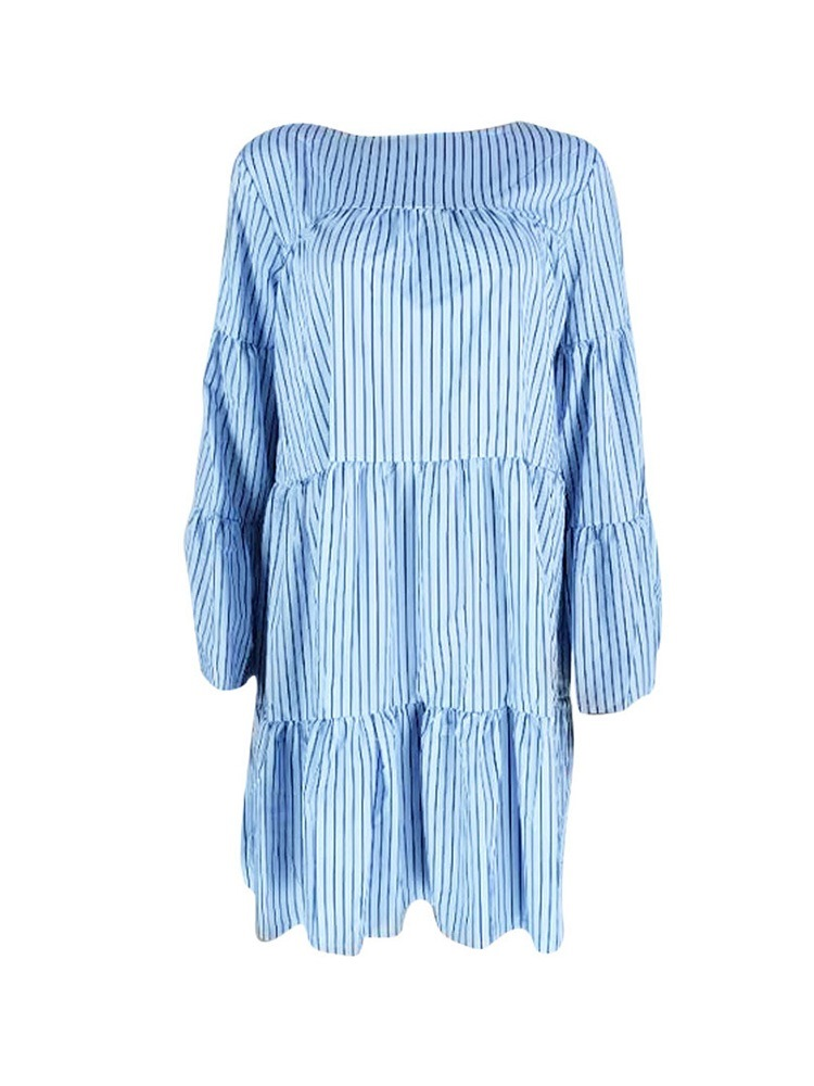 Ericdress Round Neck Stripe Pleated Casual High Waist Casual Dress