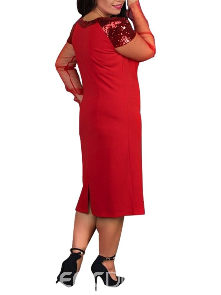 Ericdress Plus Size Sequins Round Neck Pullover Straight Dress
