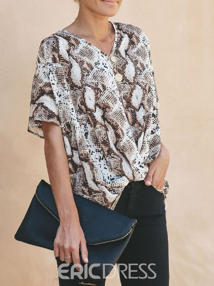 Ericdress Feather Regular Serpentine Short Sleeve Blouse