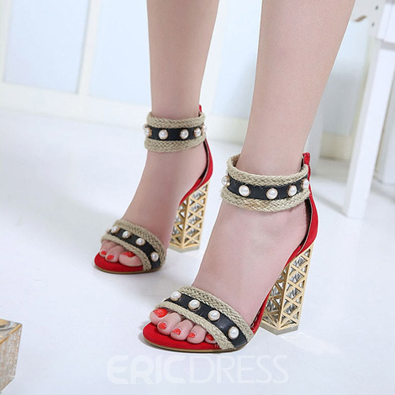 Ericdress Beads Heel Covering Zipper Chunky Heel Women's Sandals