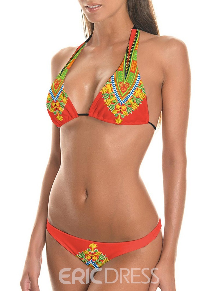 Ericdress Lace-Up Print Skimpy Sexy Bikini