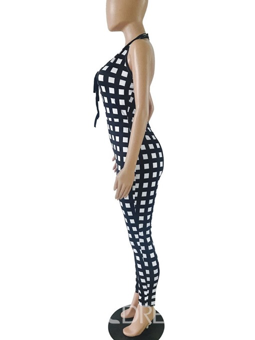 Ericdress Print Full Length Sexy Skinny Plaid Jumpsuit