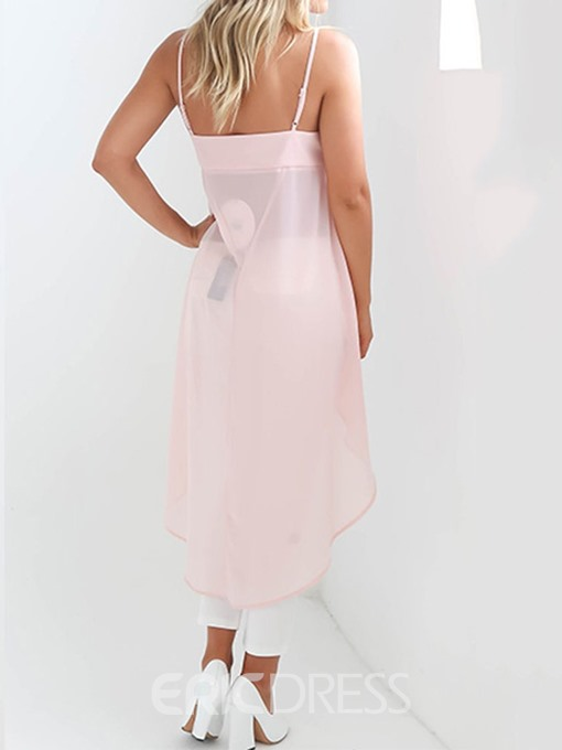 Ericdress Asymmetric Plain Sexy Tank Top