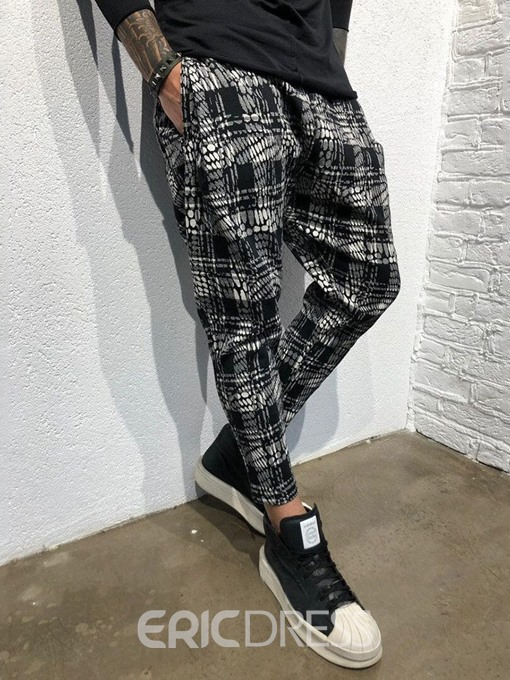 Ericdress Pocket Plaid Mid Waist Mens Casual Pants
