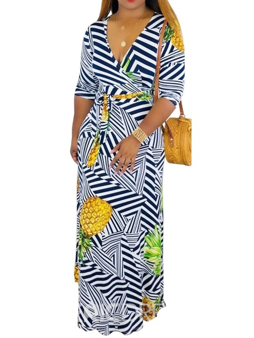 Ericdress Print Floor-Length V-Neck Fashion Stripe Dress