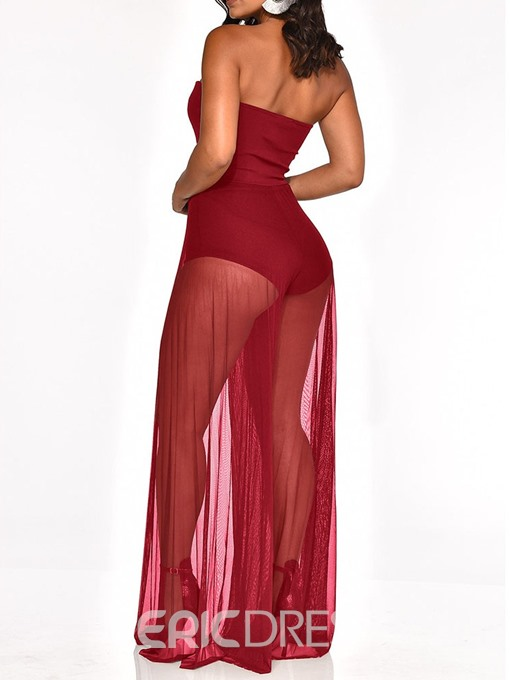 Ericdress Patchwork Sexy See-Through Slim Jumpsuit