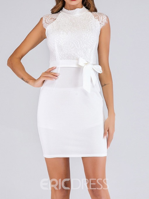Ericdress Patchwork Above Knee Sleeveless Bodycon Straight Dress