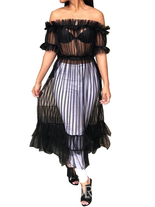 Ericdress Off Shoulder Mesh See-Through Blouse