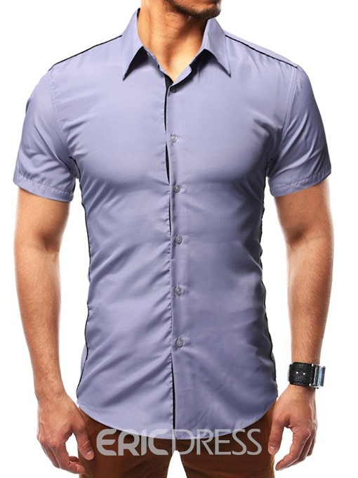 Ericdress Casual Button Color Block Single-Breasted Mens Slim Shirt